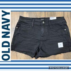 NWT Black Distressed Denim Shorts